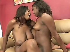 Lesbo girlfriends enjoy huge dildo