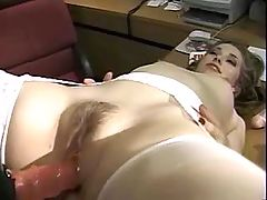 Teen strapon lezzies sexing on desk