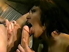 Hot chick gives dildoing to another