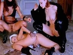Lesbian mistresses spoil poor cute maid on floor
