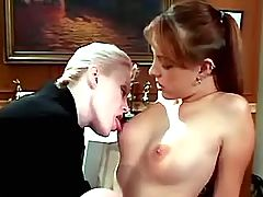 Strapon one fucks redhead in office