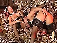 Lesbo mistress licks pussy of maid