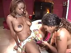 Five black lesbians have fun in wild orgy